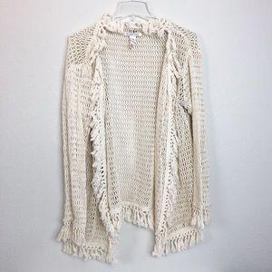 Billabong Boho Fringe Open Knit Cardigan size 12